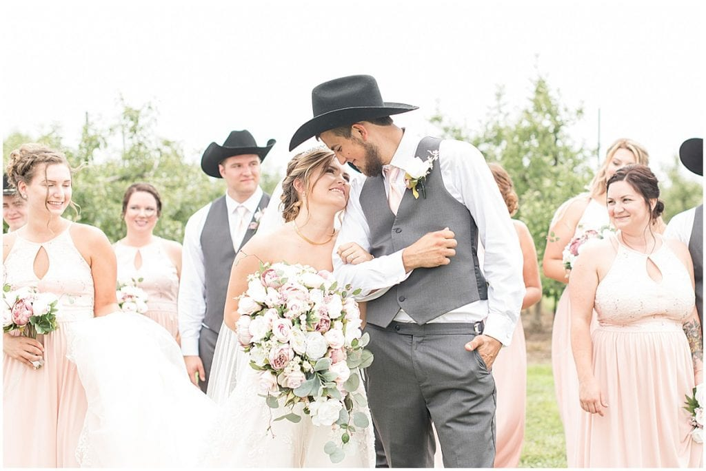 Bridal party photos for Wea Creek Orchard wedding in Lafayette, Indiana