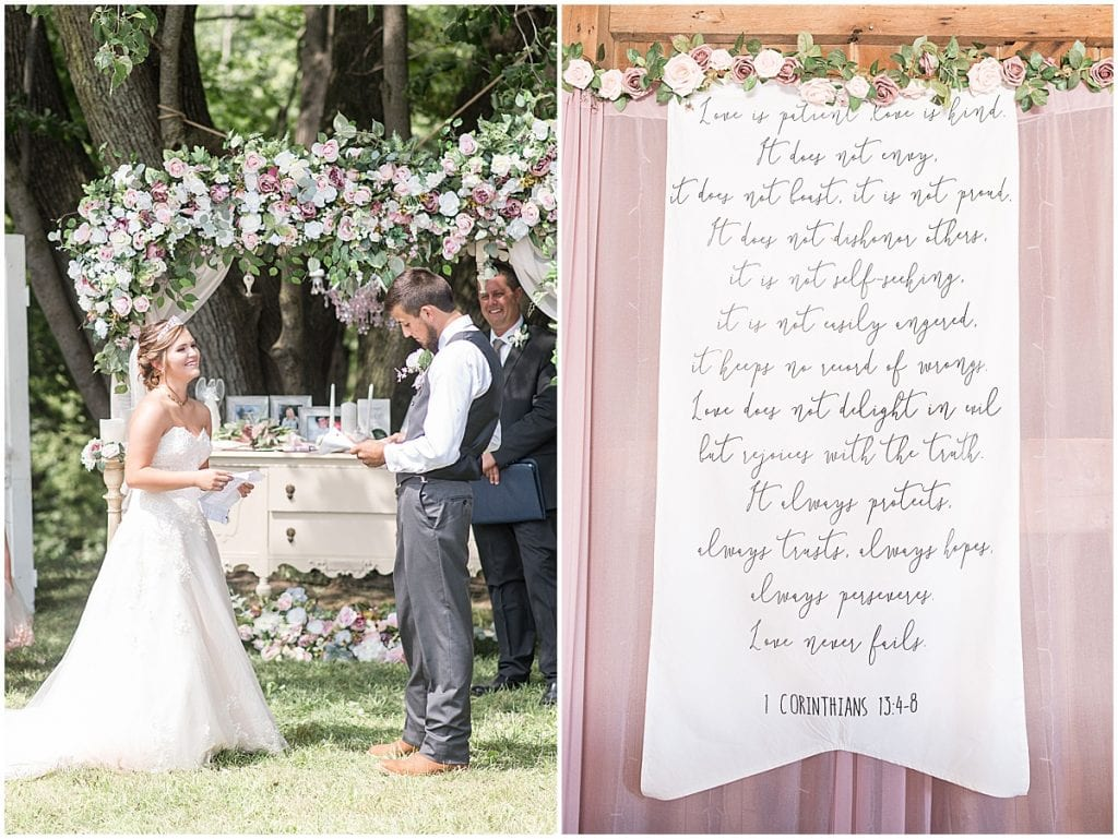 Ceremony details at Wea Creek Orchard wedding in Lafayette, Indiana