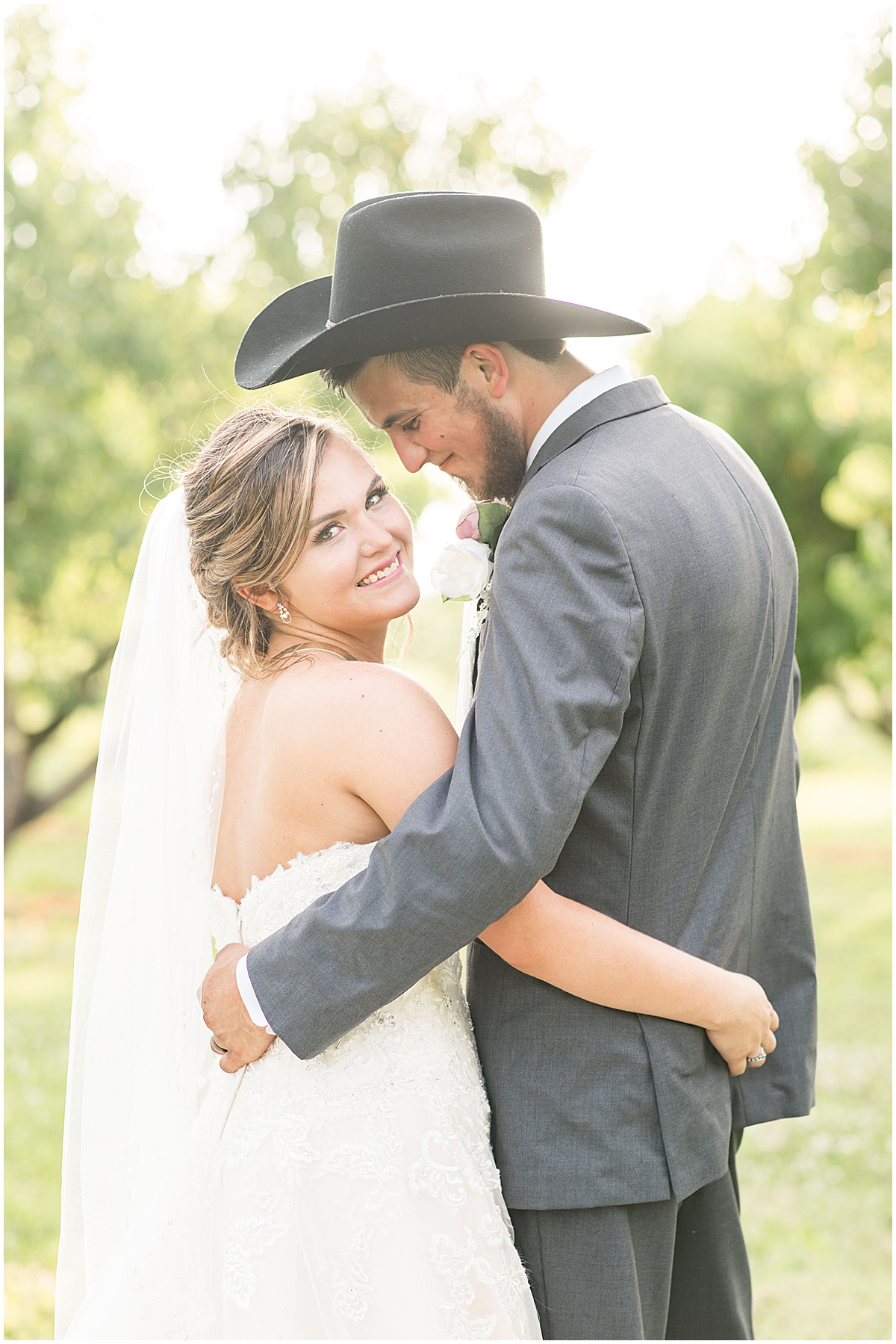 Just married photos after Wea Creek Orchard wedding in Lafayette, Indiana