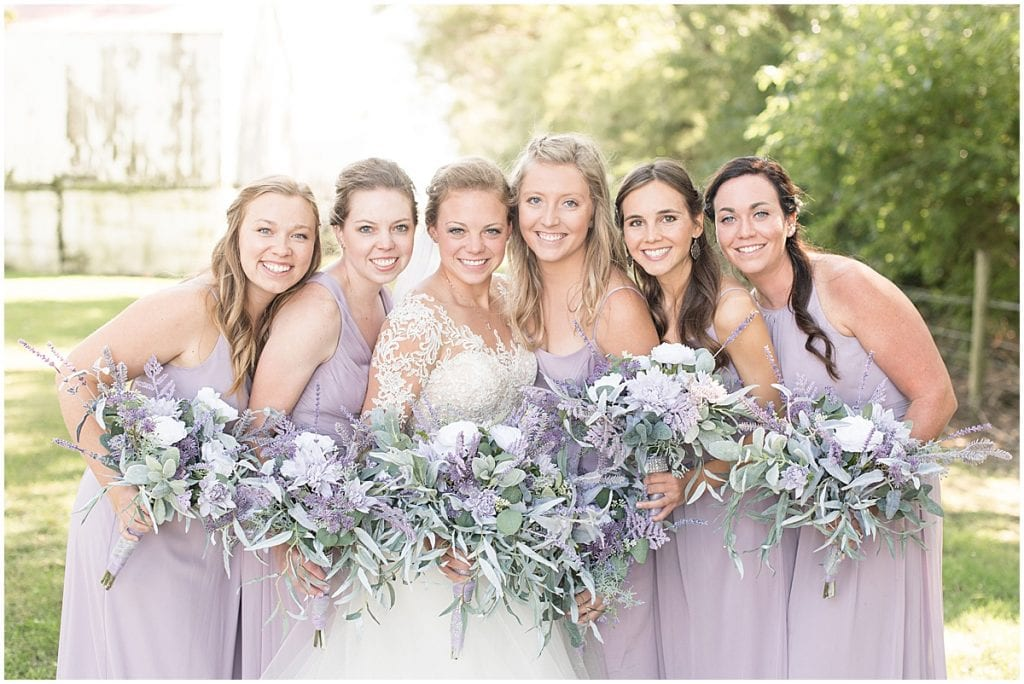 Bridesmaids ready for wedding at the Wagner Angus Barn in Wolcott, Indiana by Victoria Rayburn Photography