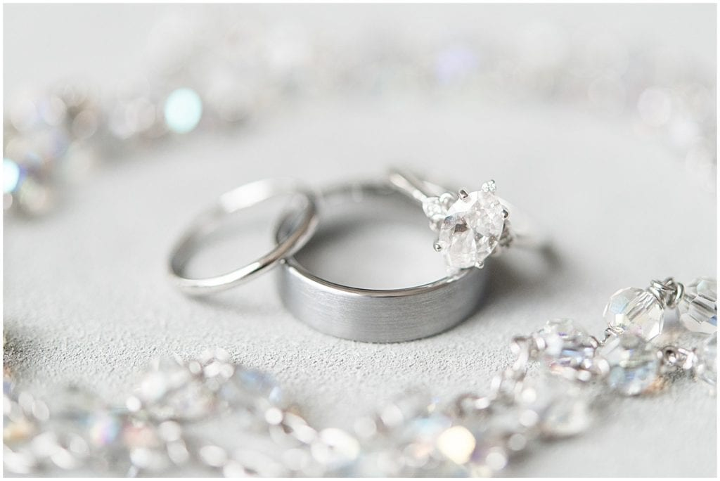 Wedding rings from winter wedding at the Cathedral of Saint Mary in Lafayette, Indiana