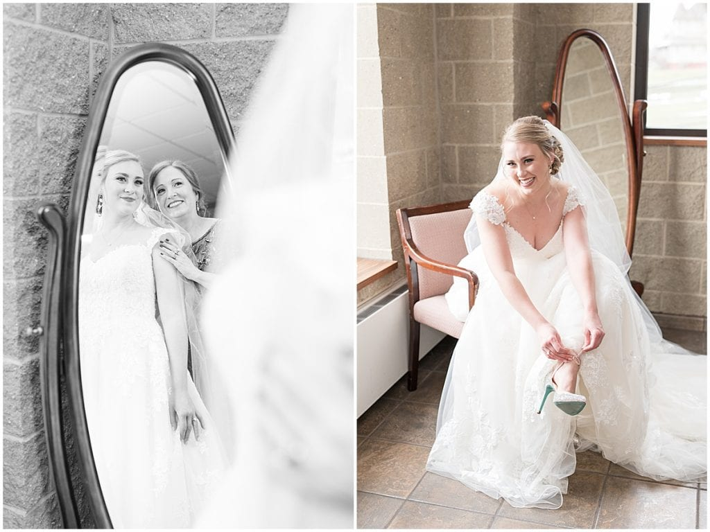 Bride getting ready for winter wedding at the Cathedral of Saint Mary in Lafayette, Indiana