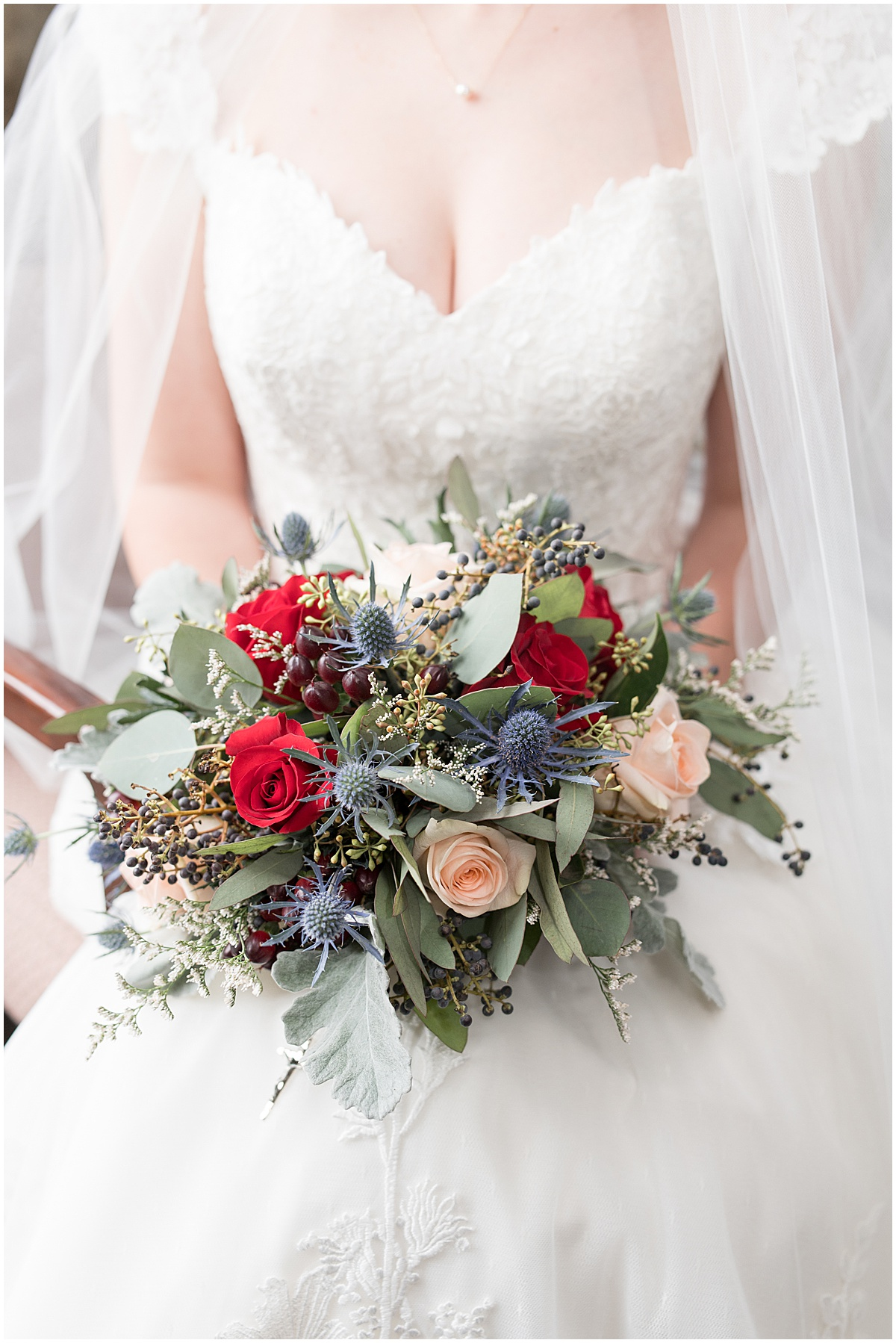Detail of bouquet for winter wedding at the Cathedral of Saint Mary