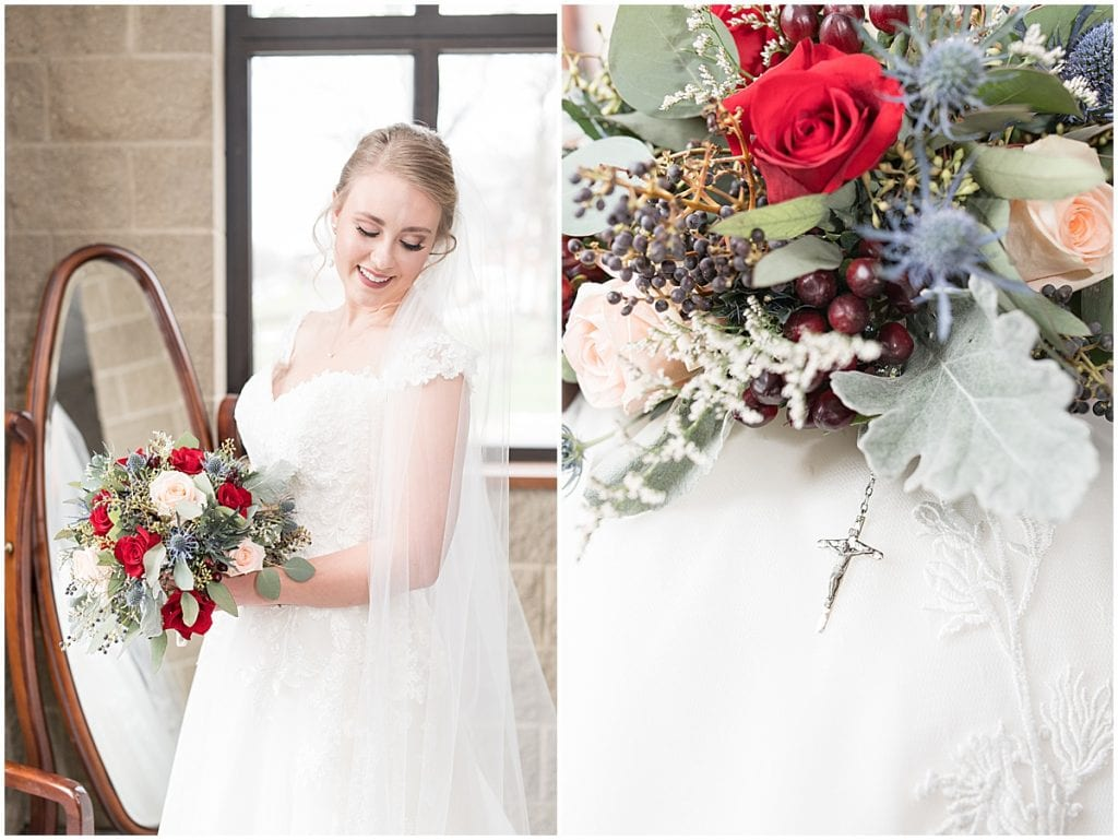 Bridal portraits before winter wedding at the Cathedral of Saint Mary