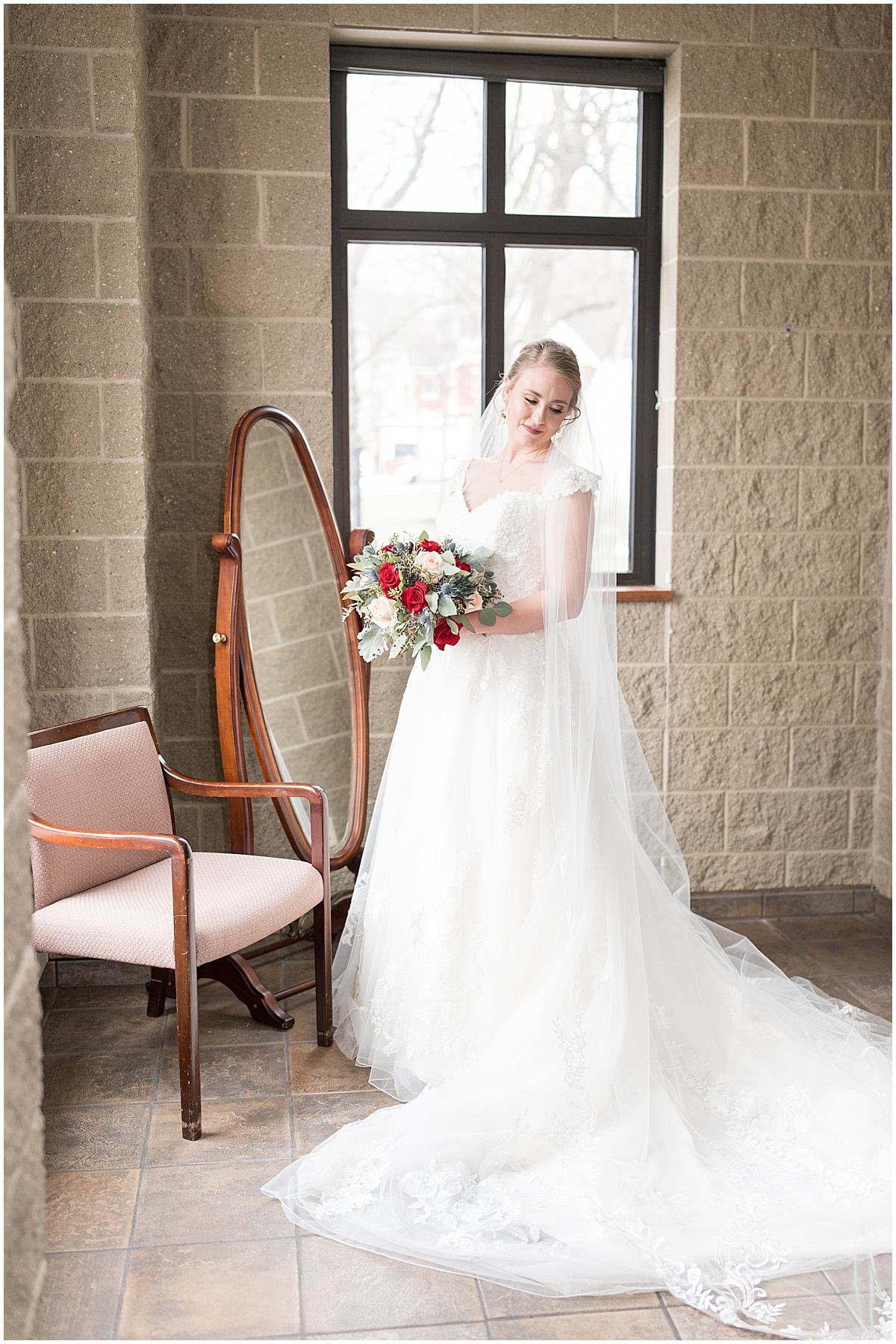Bridal portraits before winter wedding at the Cathedral of Saint Mary in Lafayette, Indiana