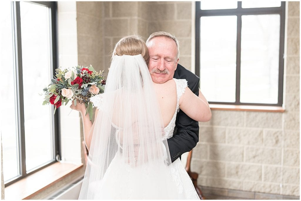 Father of the bride first look before winter wedding in Lafayette, Indiana