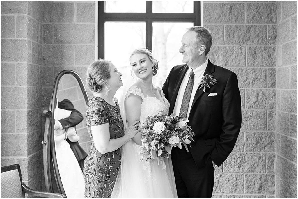 Parents of the bride at Cathedral of Saint Mary in Lafayette, Indiana