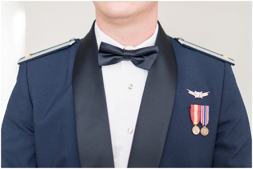 Military groom portraits at winter wedding at the Cathedral of Saint Mary in Lafayette, Indiana