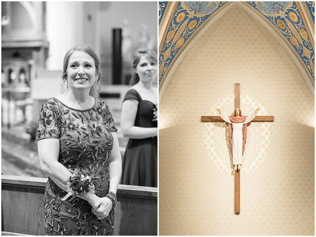 Mother of the bride at winter wedding at the Cathedral of Saint Mary in Lafayette, Indiana