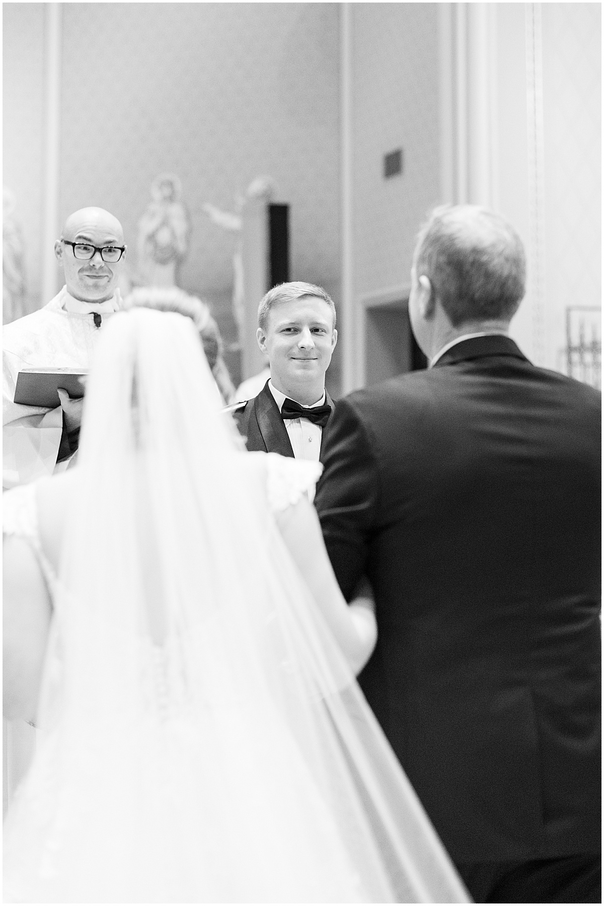 winter wedding at the Cathedral of Saint Mary in Lafayette, Indiana