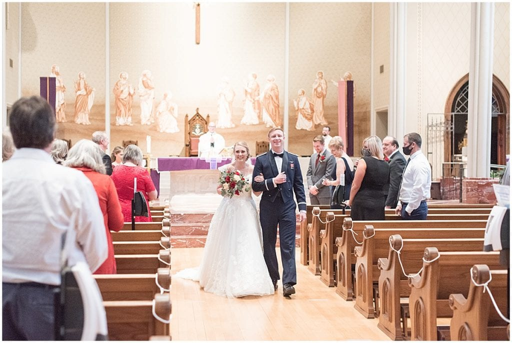 Wedding ceremony at the Cathedral of Saint Mary in Lafayette, Indiana