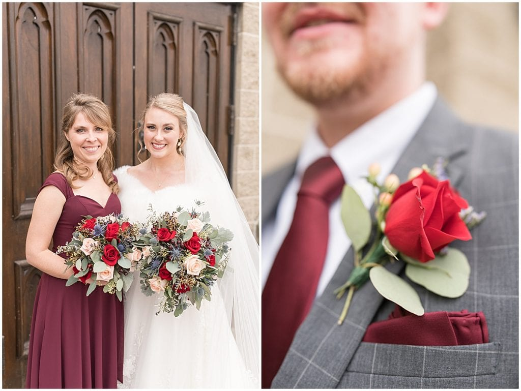 Bridal party portraits for winter wedding at the Cathedral of Saint Mary