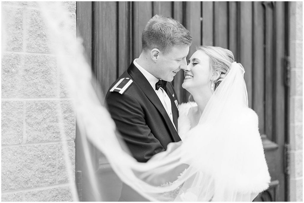 Bride and groom just married photos after ceremony at the Cathedral of Saint Mary in Lafayette, Indiana