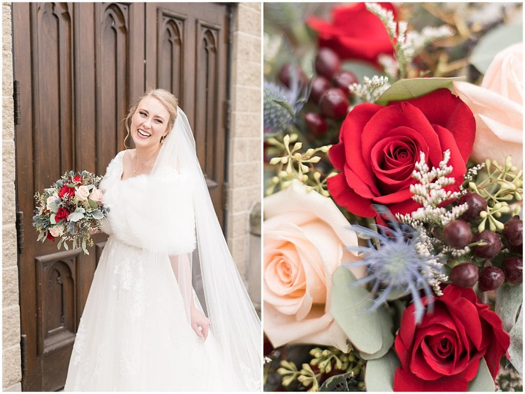 Bridal photos after ceremony at the Cathedral of Saint Mary in Lafayette, Indiana