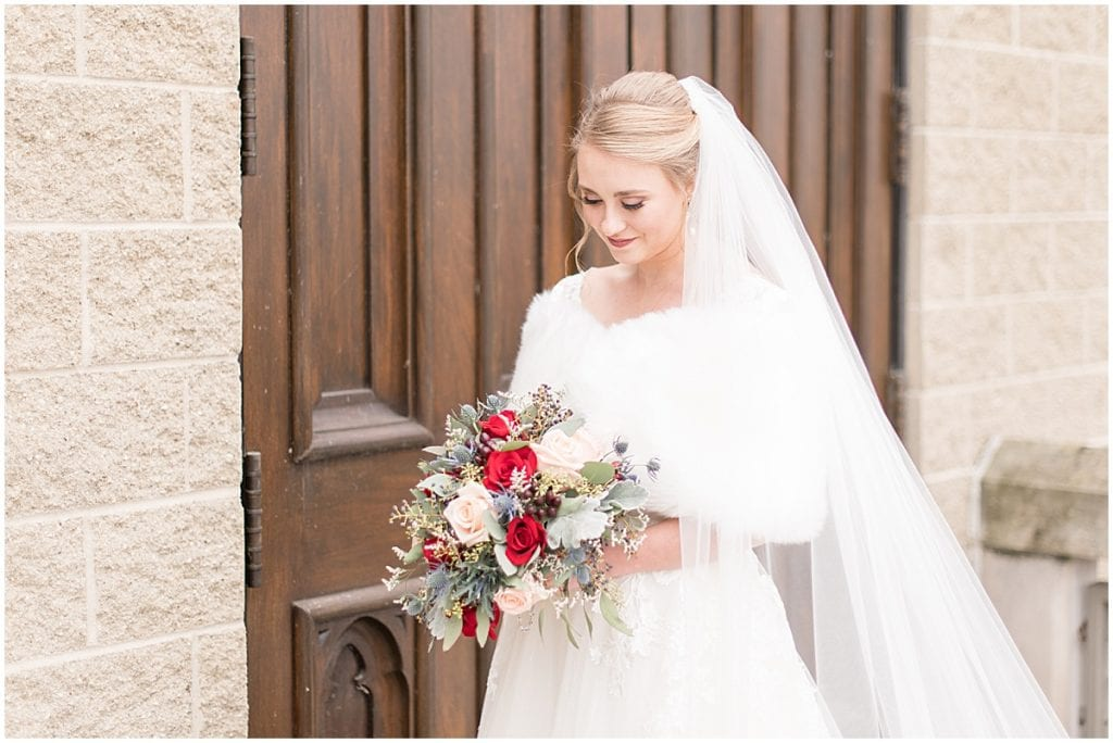 Bride just married photos after ceremony at the Cathedral of Saint Mary in Lafayette, Indiana