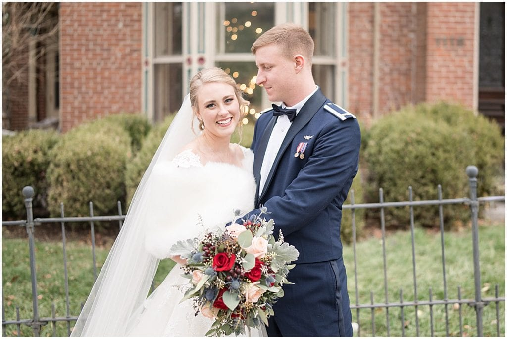 Bride and groom just married photos after winter wedding in Lafayette, Indiana