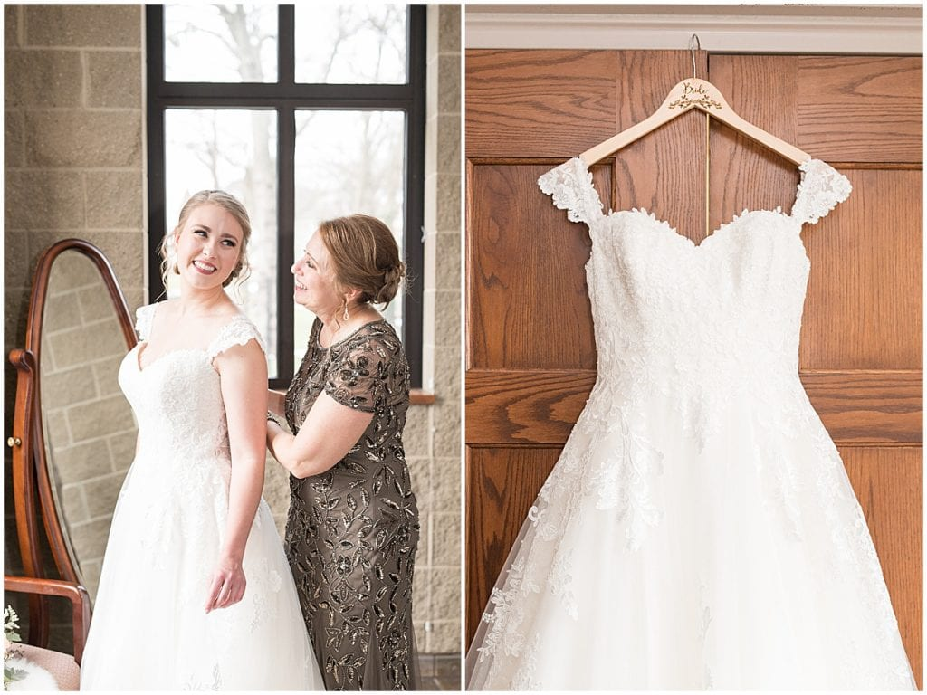 Bridal details at winter wedding at the Cathedral of Saint Mary in Lafayette, Indiana