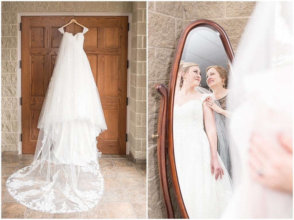 Bride getting ready for winter wedding at the Cathedral of Saint Mary in Lafayette, Indiana by Victoria Rayburn Photography