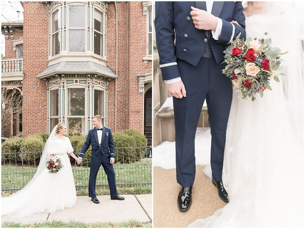 Wedding photos at Cary Hall on Purdue's campus in West Lafayette, Indiana