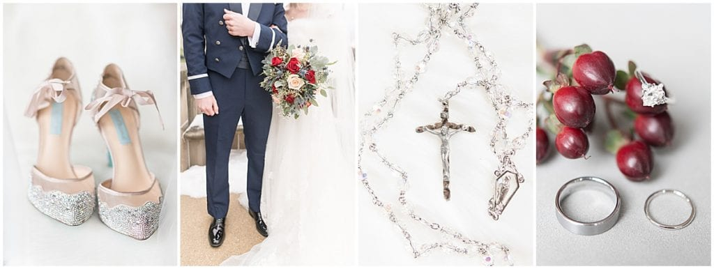 Details of winter wedding at the Cathedral of Saint Mary in Lafayette, Indiana