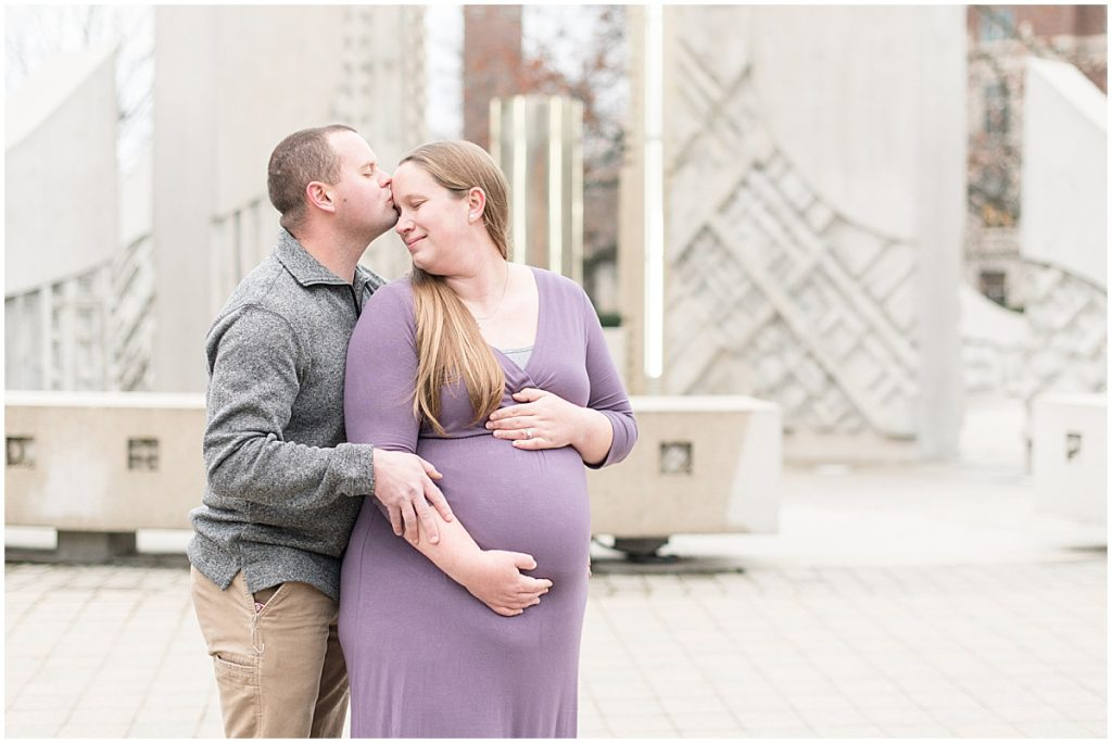 Winter Purdue University maternity photos in West Lafayette, Indiana