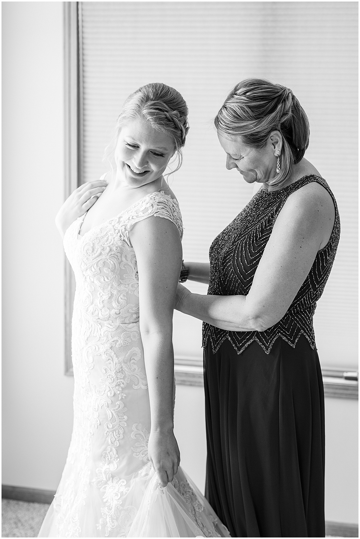 Bride getting ready for at-home, socially distanced wedding in Tinley Park, Illinois