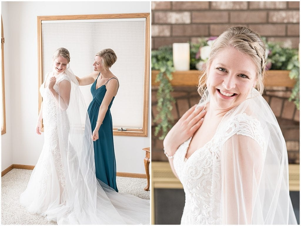 Bride prior to her at-home, socially distanced wedding in Tinley Park, Illinois
