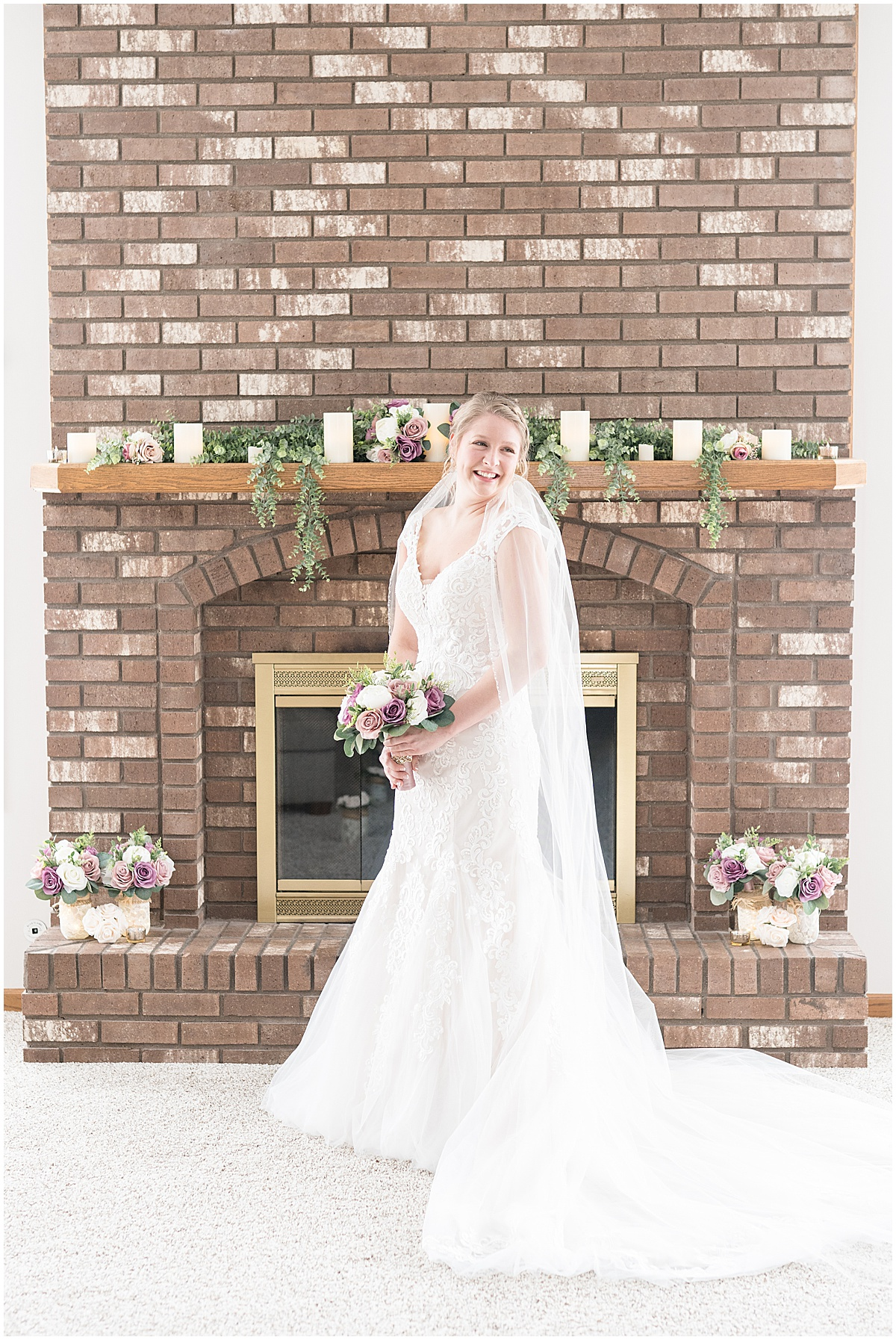 Bridal portraits in living room prior to at-home, socially distanced wedding in Tinley Park, Illinois