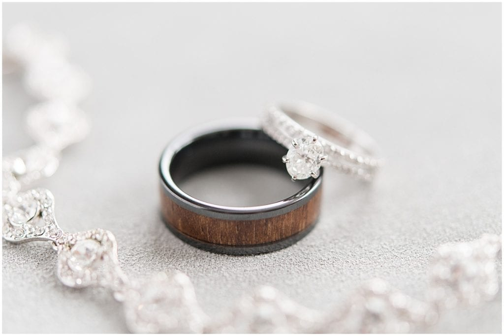Wedding ring detail of at-home, socially distanced wedding in Tinley Park, Illinois
