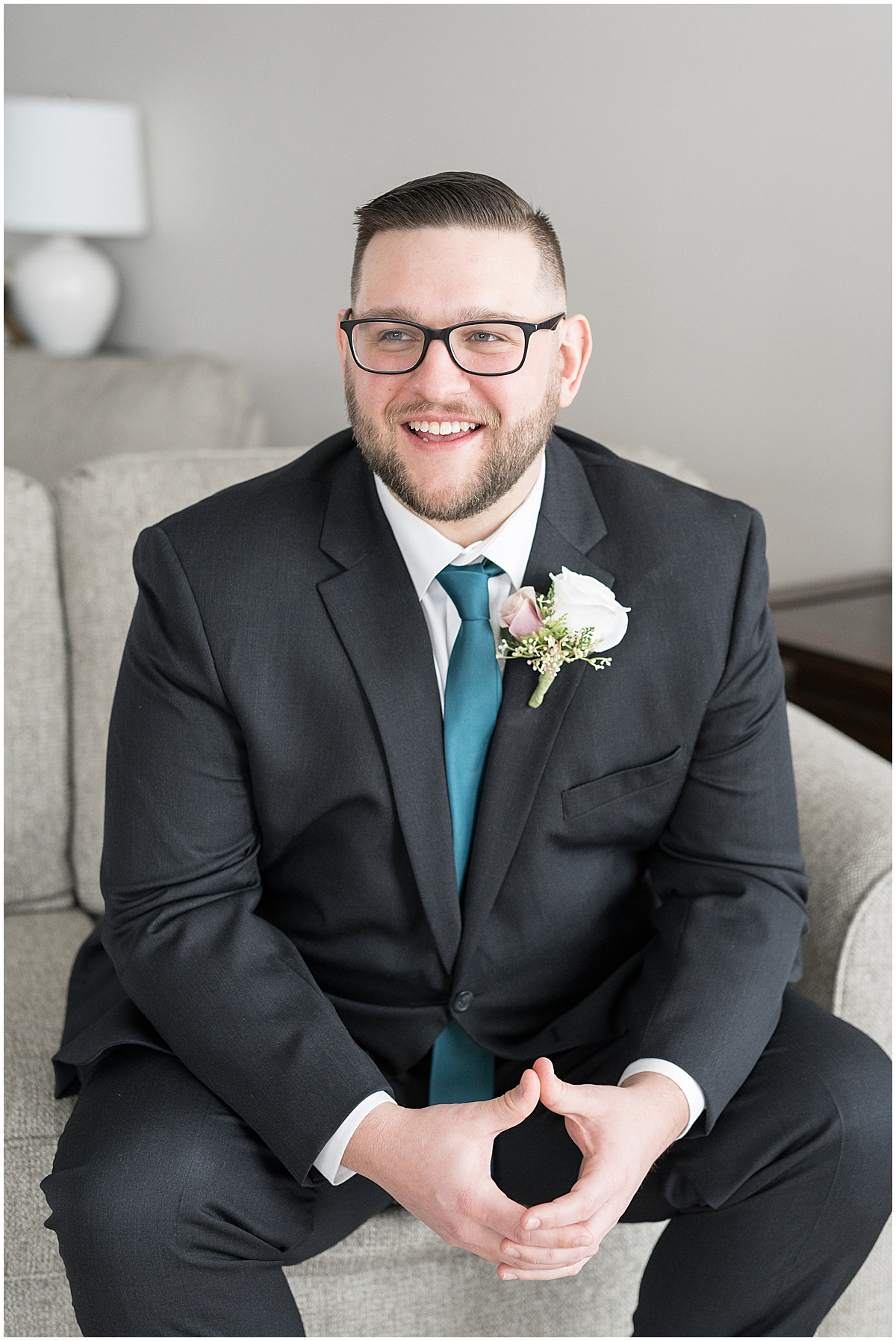 Groom portraits for at-home, socially distanced wedding in Tinley Park, Illinois
