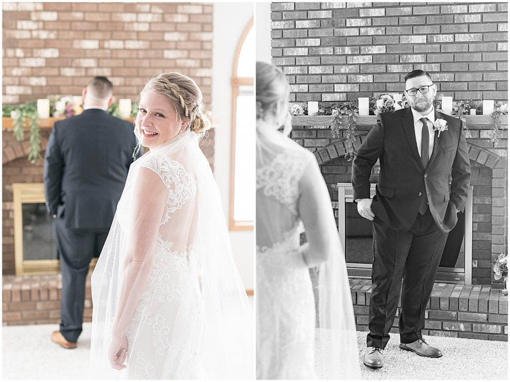 Bride and groom first look for at-home, socially distanced wedding