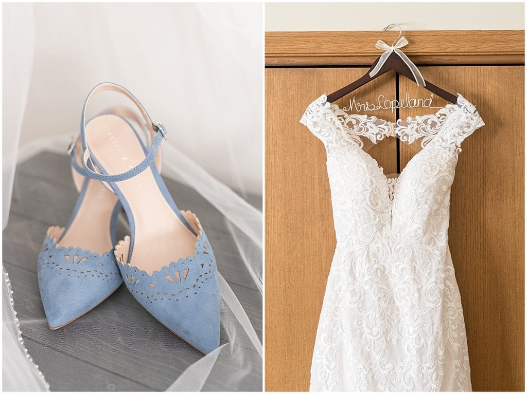 Bridal details of at-home, socially distanced wedding in Tinley Park, Illinois