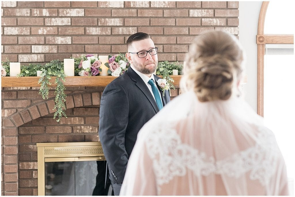 Groom's reaction to bride before at-home, socially distanced wedding