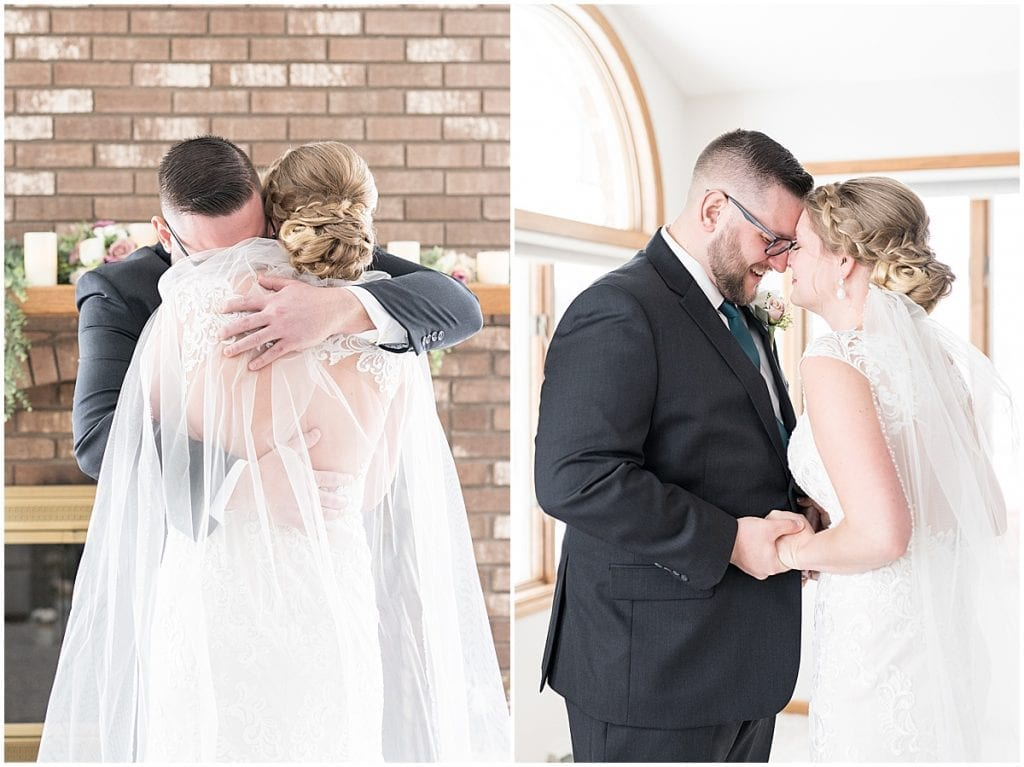 Groom's reaction to bride for at-home, socially distanced wedding