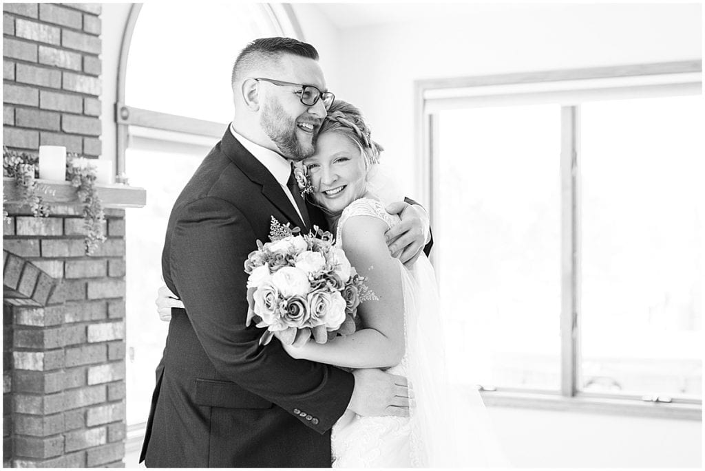 Bride and groom before at-home, socially distanced wedding in Tinley Park, Illinois