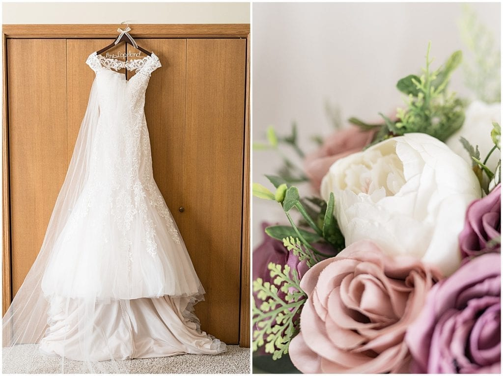 Wedding dress from at-home, socially distanced wedding in Tinley Park, Illinois