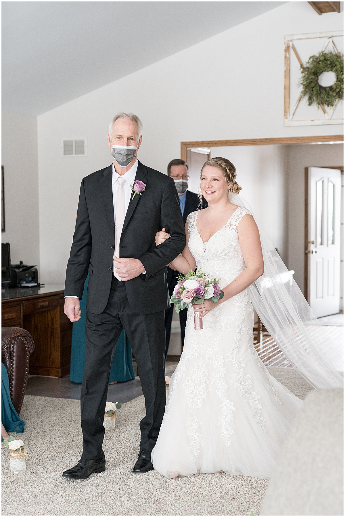 Bride walking down the aisle in at-home, socially distanced wedding in Tinley Park, Illinois