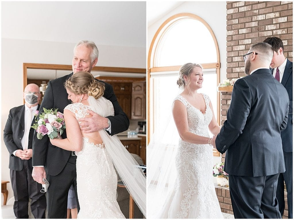 Intimate ceremony at-home, socially distanced wedding in Tinley Park, Illinois