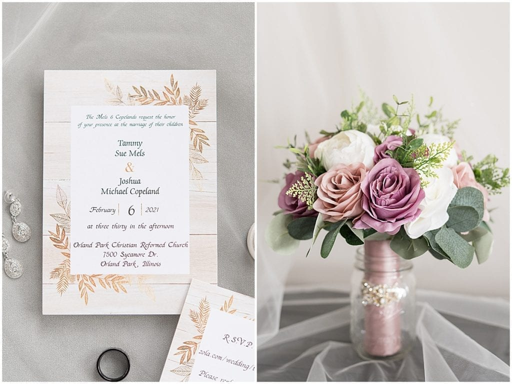 Wedding details from at-home, socially distanced wedding in Tinley Park, Illinois