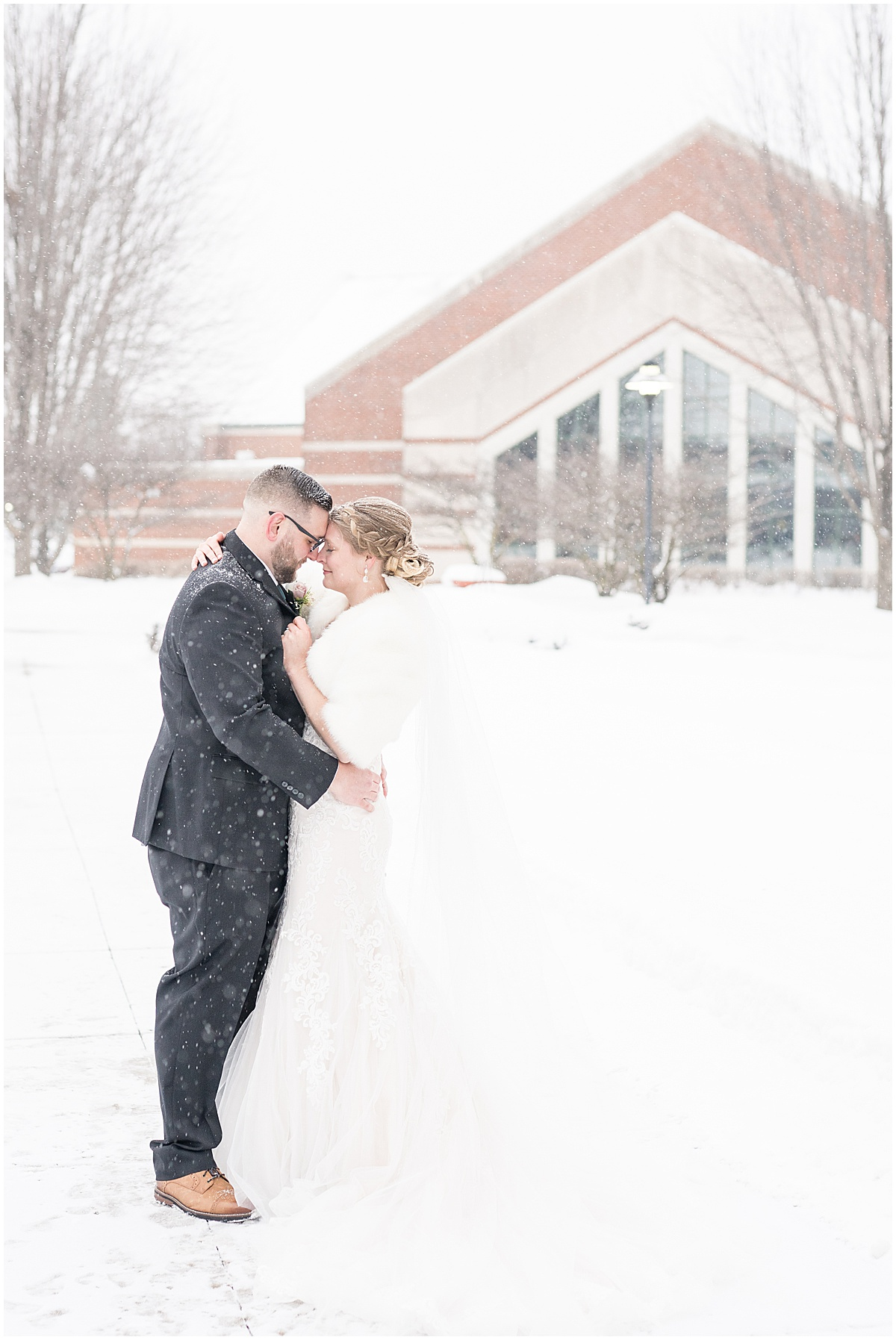 Wedding photos in the snow at Trinity Christian College in Chicago, Illinois