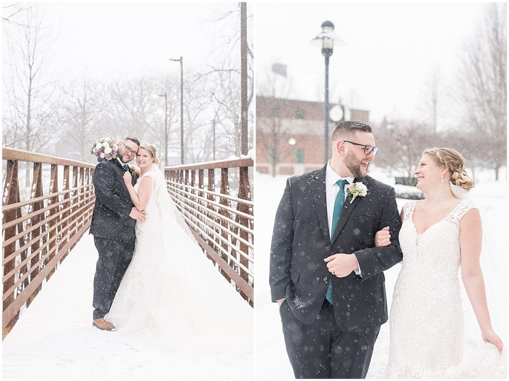 Bride and groom wedding photos at Trinity Christian College in Chicago, Illinois