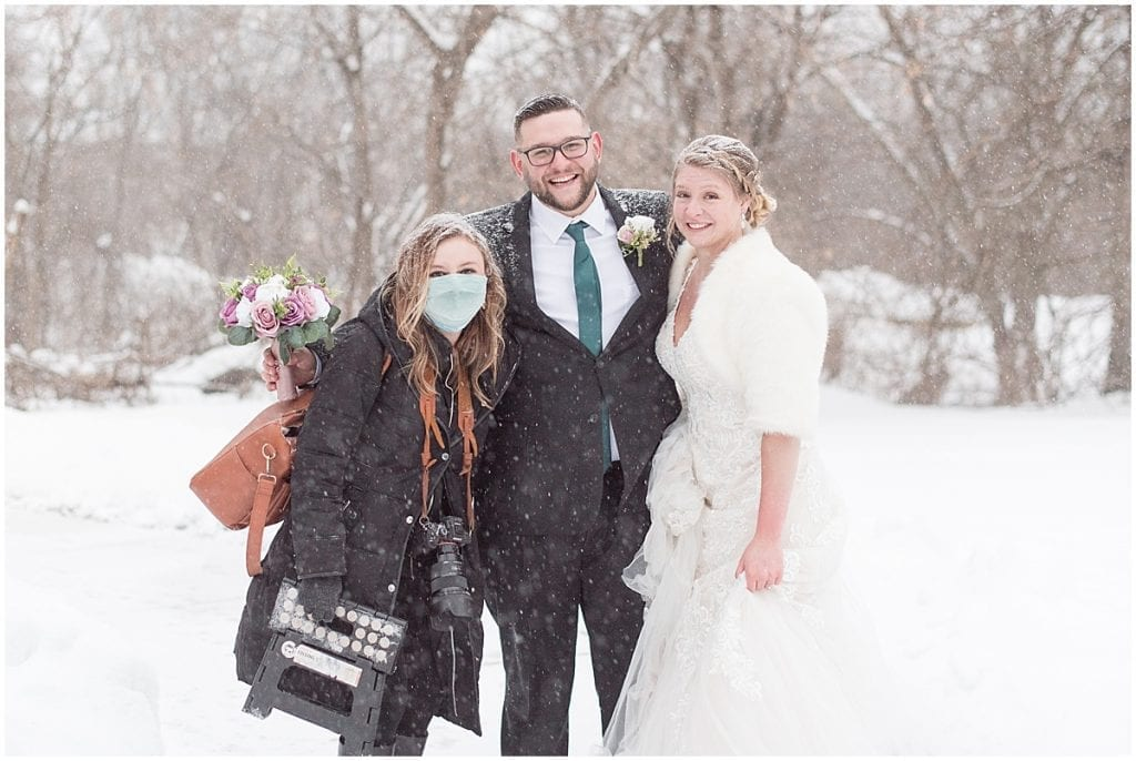 Bride and groom with wedding photographer at Trinity Christian College in Chicago, Illinois