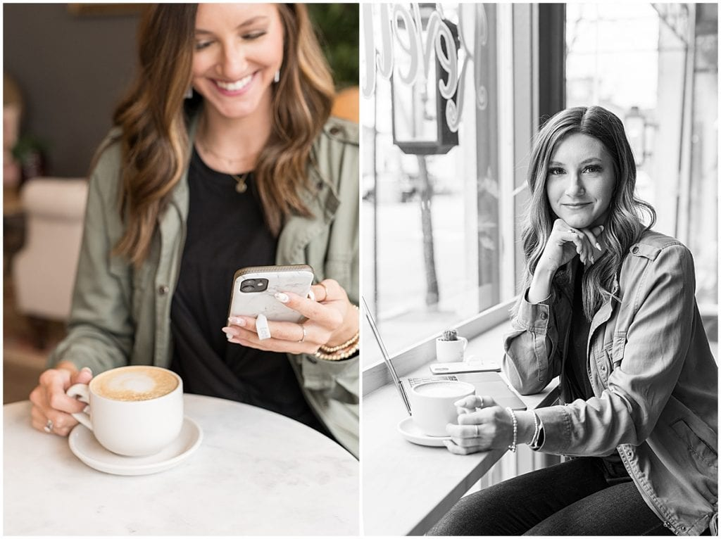Boutique branding photos in Lafayette, Indiana at Reveille Coffee Bar for Liv Free Boutique