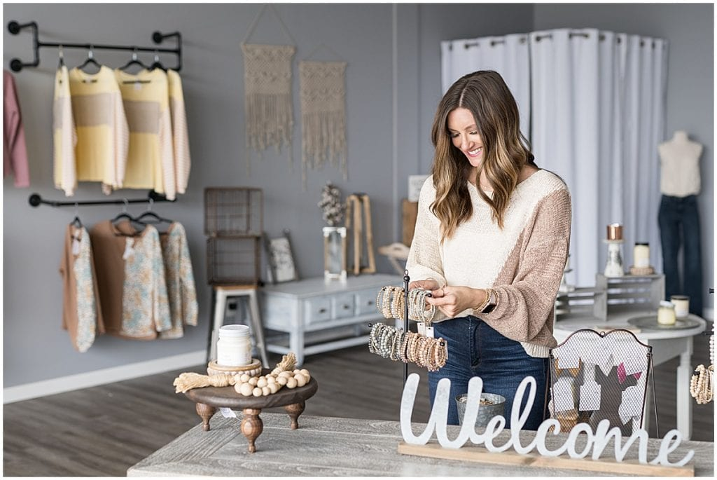 Boutique branding photos in Lafayette, Indiana for Liv Free Boutique