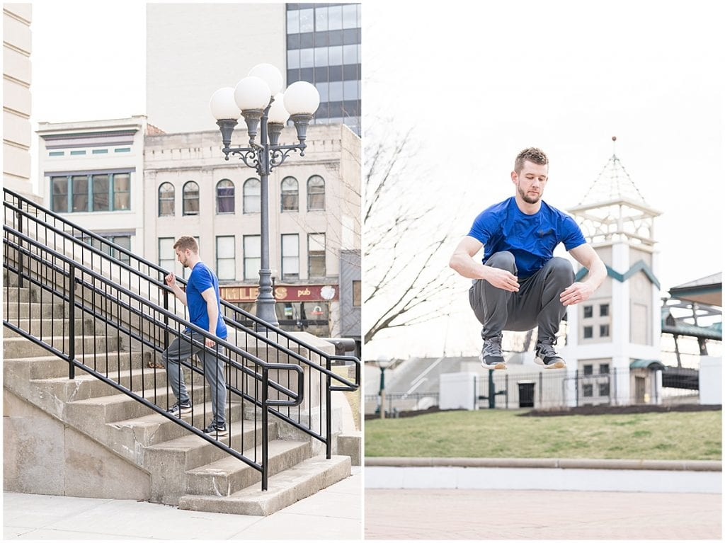 Frank Berenda running stairs for personal trainer branding photos in downtown Lafayette, Indiana