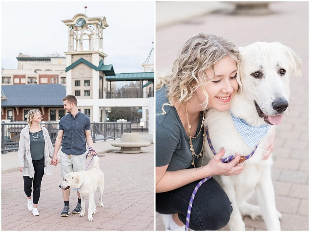 Couple photos with dog on John T. Myers Pedestrian Bridge in downtown Lafayette, Indiana