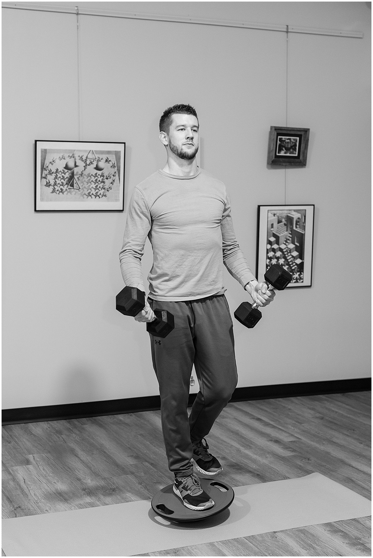 Personal Trainer Frank Berenda working out in Sunshine Yoga & Wellness for personal trainer branding photos in downtown Lafayette, Indiana