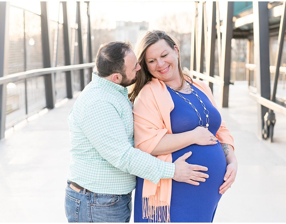 Maternity photos on the Pedestrian Bridge in downtown Lafayette, Indiana