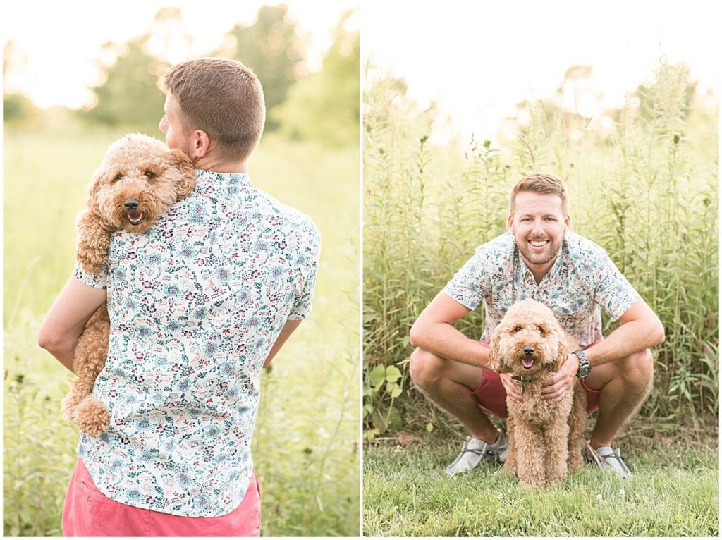 Garrett Smith and his dog, Chewie, at the Celery Bog in West Lafayette, Indiana for family photos