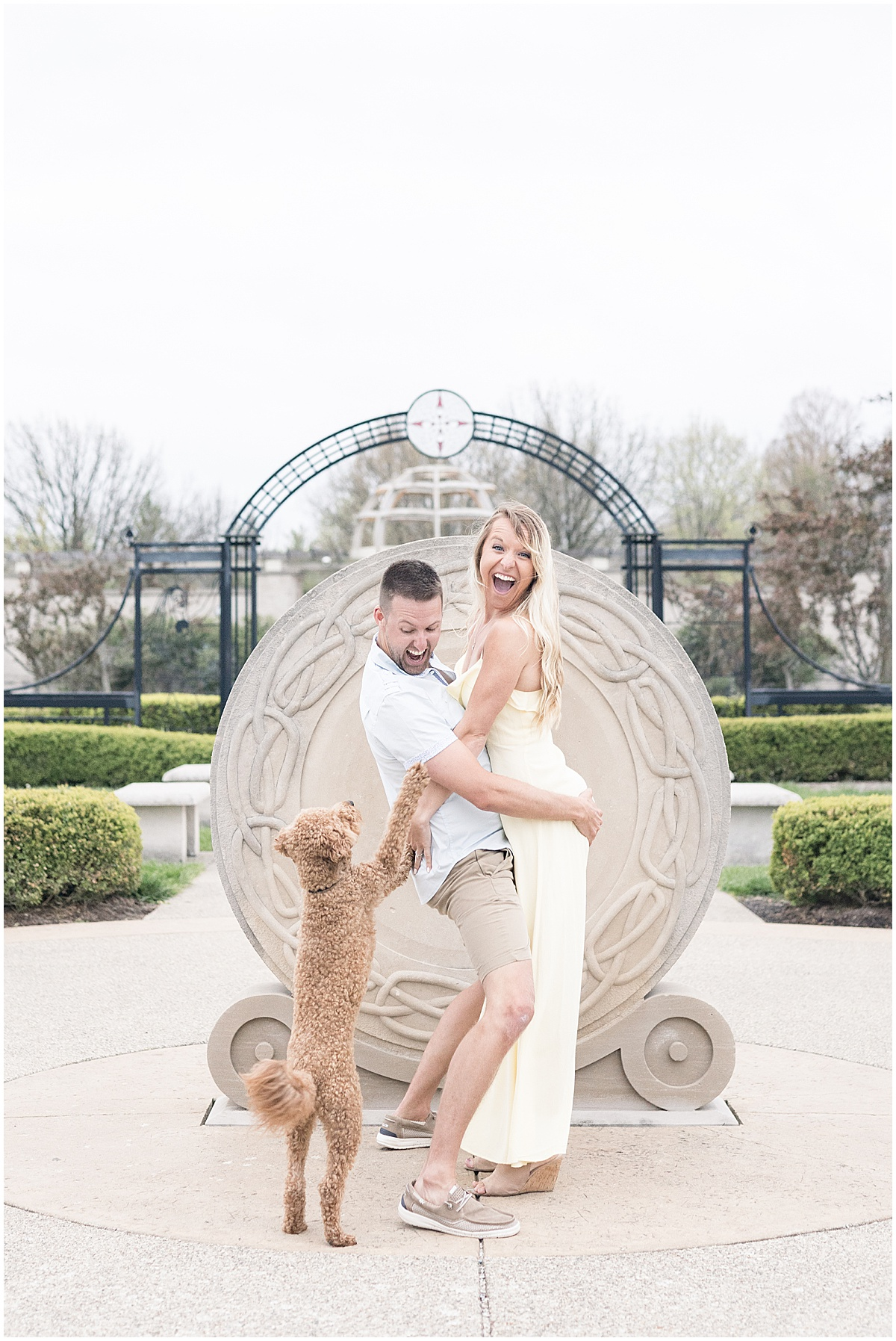 Coxhall Gardens Engagement Photos in Carmel, Indiana with dog